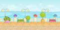 Sunny cartoon seafront landscape endless vector seaside background for computer games stone fence plants flowers benches pav Royalty Free Stock Photo