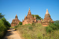 A sunny day at the ancient Buddhist pagodas of Bagan. Burma Royalty Free Stock Photo