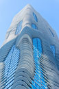 A sunny day at the Aqua building in downtown Chicago.