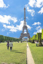 Sunny day at eiffel tower in paris france Royalty Free Stock Image