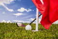 Sunny day on golf field summer sports colorful concept with grass Stock Image