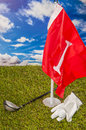 Sunny day on golf field summer sports colorful concept with grass Stock Images