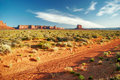 Sunny evening in monument valley arizona usa Royalty Free Stock Photos