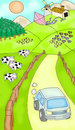 Sunny farmland animal cow stock illustration a journey to the a van driving pass the happy cows Stock Photos