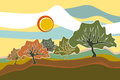 Sunny Field Trees landscape illustration