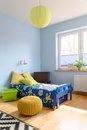 Sunny and funny character of a child room part colorful with place to sleep Stock Photos