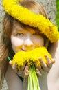Sunny girl in diadem Royalty Free Stock Photo