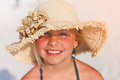 Sunny girl young with strawhat smiling Royalty Free Stock Photos