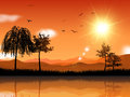 Sunny landscape background of a scene Royalty Free Stock Photo