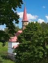 Sunny landscape with old castle. Russia. Gatchina city Royalty Free Stock Photo