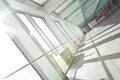 Sunny on modern glass office windows building interior corridor Royalty Free Stock Photo