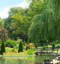 Sunny park with river and bridge Royalty Free Stock Photo