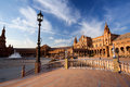 Sunny Plaza de Espana in Sevilla Royalty Free Stock Images