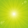 Sunny rays on green background Royalty Free Stock Image