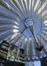 Sunny roof detail and blue sky illuminated of the sony center in berlin germany Royalty Free Stock Photos