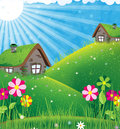Sunny rural landscape two houses with sod roofs on a green meadow summer Stock Image