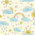 Sunny seamless pattern illustration Stock Photos