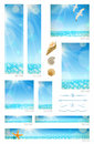 Sunny seascape backgrounds sea animals and decorative dividers set of standard web banners Stock Image