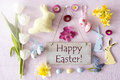 Sunny Shiny Easter Flat Lay With Flowers, Text Happy Easter