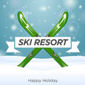 Sunny ski resort and happy holiday outside on snow background Stock Image