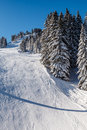 Sunny ski slope near megeve in french alps france Royalty Free Stock Images