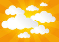Sunny sky and clouds a with white fluffy Royalty Free Stock Photos
