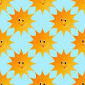 Sunny smile cartoon vector seamless pattern Royalty Free Stock Photo