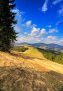 Sunny spring in mountains. Fields and hills Royalty Free Stock Photo