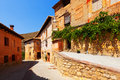 Sunny street of old spanish town albarracin Royalty Free Stock Photos