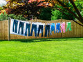 Sunny Summer Clothesline in Backyard Royalty Free Stock Photo