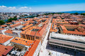Sunny summer day above old town of Zadar. Panoramic view from height Royalty Free Stock Photo