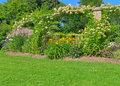 Sunny summer garden with green lawn and stone arc Stock Photography