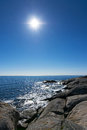 Sunny swedish sea cliffs in vertical view Royalty Free Stock Photography