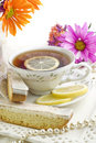 Sunny Tea Party with Lemon Biscotti Stock Photo