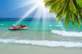 Sunny tropical beach on the island beautiful paradise in middle of sea Royalty Free Stock Image