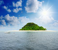 Sunny tropical beach on the island beautiful paradise in middle of sea Royalty Free Stock Images