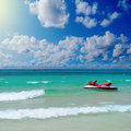 Sunny tropical beach on the island beautiful paradise in middle of sea Royalty Free Stock Photo