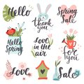 Set of cute hand-drawn Spring elements. Vector illustration.