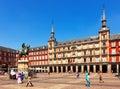 Sunny view of Plaza Mayor. Madrid, Spain Royalty Free Stock Photo