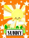 Sunny Weather flashcard collection for preschool kid learning English vocabulary Royalty Free Stock Photo