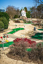 Sunny weather at mini golf course Royalty Free Stock Photo