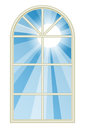 Sunny window illustration depicting the sun shining through a tall rounded Royalty Free Stock Image
