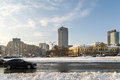 Sunny Winter Day Following A Strong Snow Storm In Downtown Bucharest City