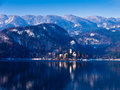 Sunny winter morning lake bled slovenian alps Royalty Free Stock Images