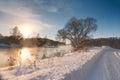 Sunny winter morning on a river svisloch belarus Royalty Free Stock Photo