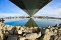 Sunny winter morning under the cable bridge on sava river belgrade serbia Stock Photo