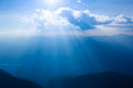 Sunray through haze on sky cloud can be used as background and dramatic look Royalty Free Stock Images