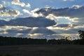 Sunrays break through clouds over tress