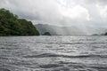 Sunrays over large lake Royalty Free Stock Photo