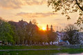 Sunrise above catholic church in uzhhorod ukraine Royalty Free Stock Photography